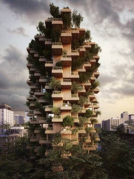 Best Living In The Sky Images On Pinterest Architecture - 384ft tall apartment will be the worlds first building to be covered in evergreen trees