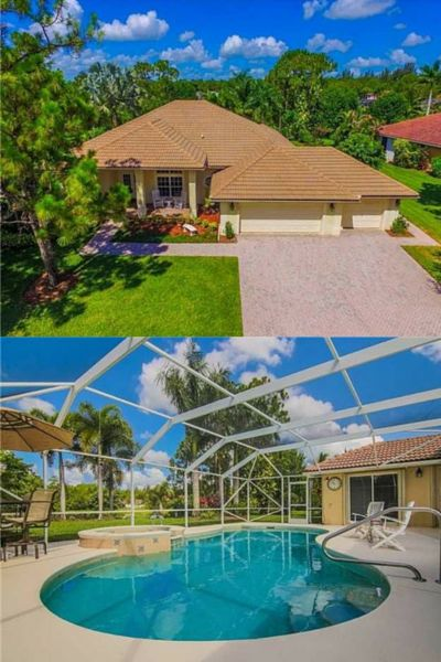 This home is a must-see and shows like a model. Locks Landing custom Lexington model offers 4 bedrooms, 3 baths, oversized 3 car garage, screened in salt water pool/spa. Impressive LED lighting accentuates the Floridian landscape overlooking the picturesque lake. Over 2,500 sq.ft. of living area with all the best upgrades. Some of the high points of this immaculate home include Cherry flooring, tray ceilings, built-in closets, custom computer center, appealing baseboards and mill work.