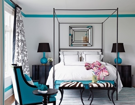 Turquoise room for perhaps a teenager's room.