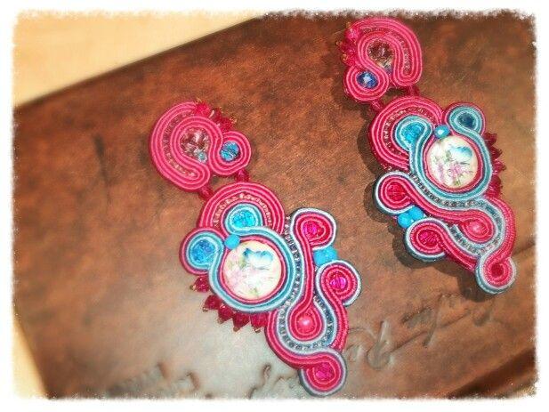 my pink garden - soutache earrings  Arona Haryo by E.M.M. aronacouture@gmail.com