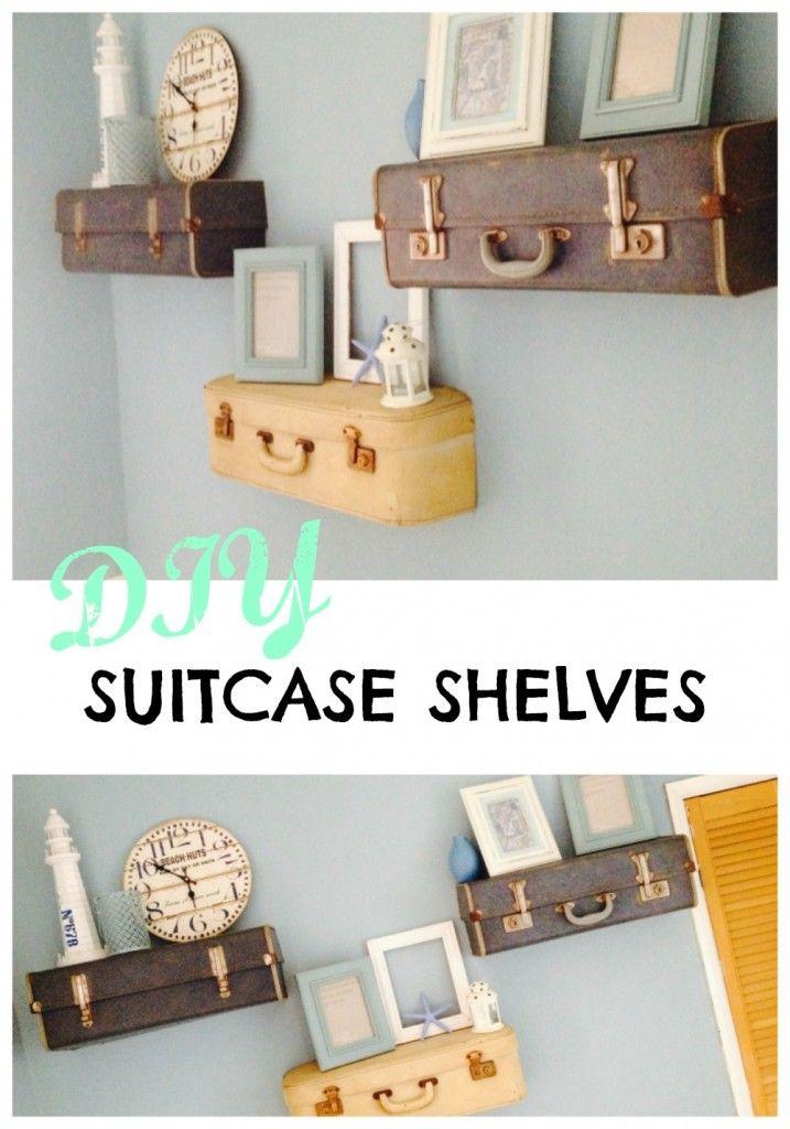 Suitcase shelves DIY
