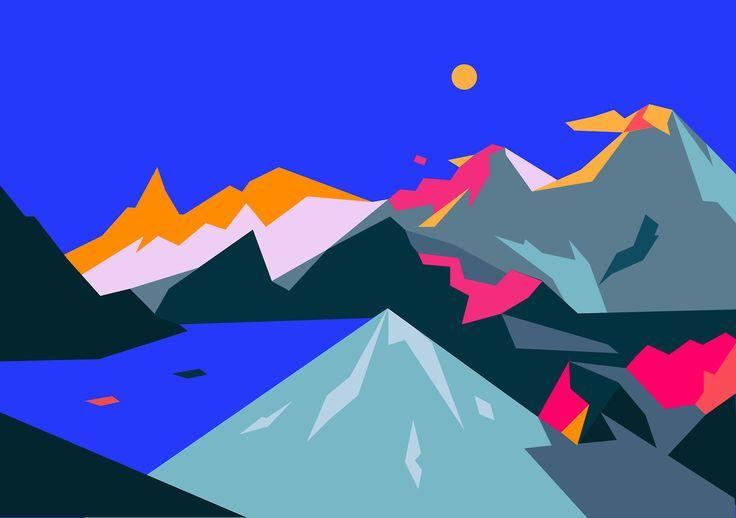 활화산(活火山) #mountainscape #landscape #blue #pink #vivid #graphic #vector #volcano #visual #Yooni #Boo #illust #illustration #그림