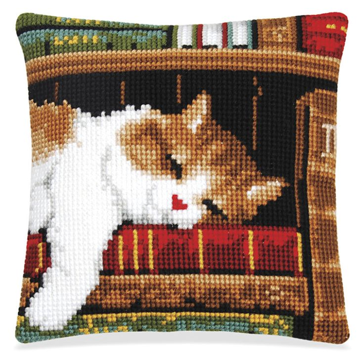 Bookshelf Kitten Quickpoint Pillow Top - Cross Stitch, Needlepoint, Embroidery Kits – Tools and Supplies