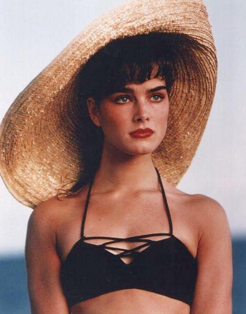 Brooke shields 24x36 poster black bikini & straw hat striking