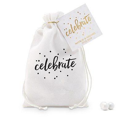 """celebrate"" Print Muslin Drawstring Favor Bag - Small"