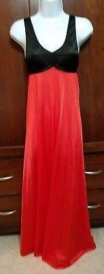 Vtg Vanity Fair Black/Red Antron III Nylon Full Length Nightgown Negligee Sz.30