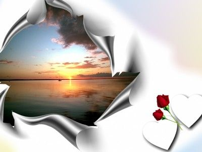 Flower And Hearts With Landscape Border Ppt Backgrounds