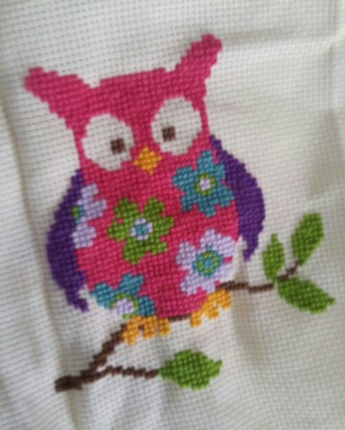 Embroided owl. To be on a pillow for my niece