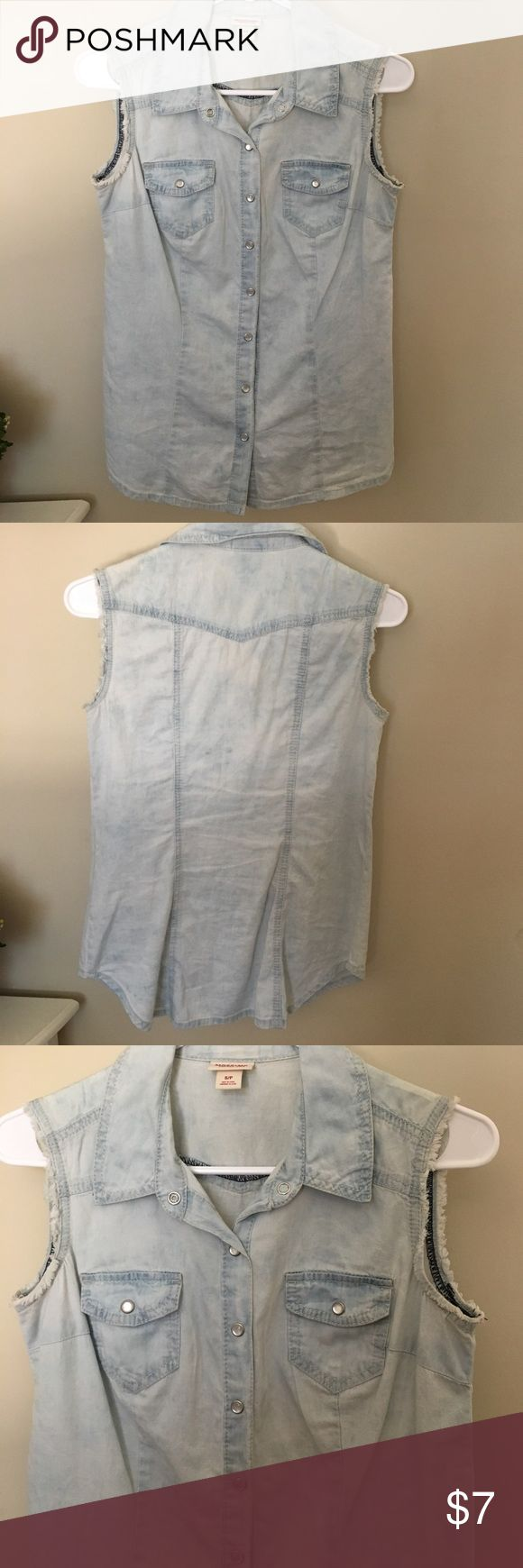 "Light blue jean cut off shirt Light blue jean cut off shirt. Sleeves are slightly frayed. Buttons are ""pearl"". Shirt is in perfect condition. Mossimo Supply Co. Tops Tank Tops"