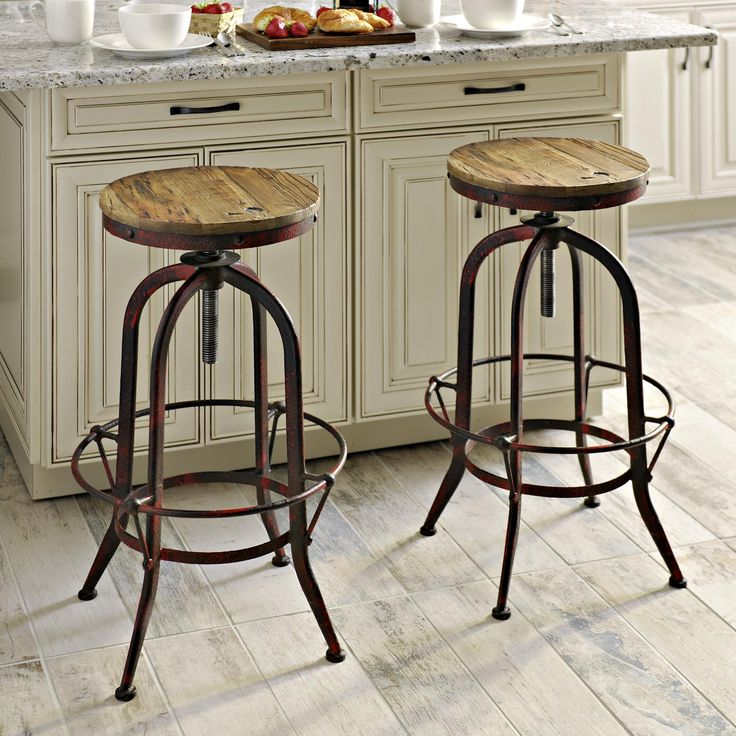 Industrial Red Bar Stool Farmhouse style bar stools, Bar