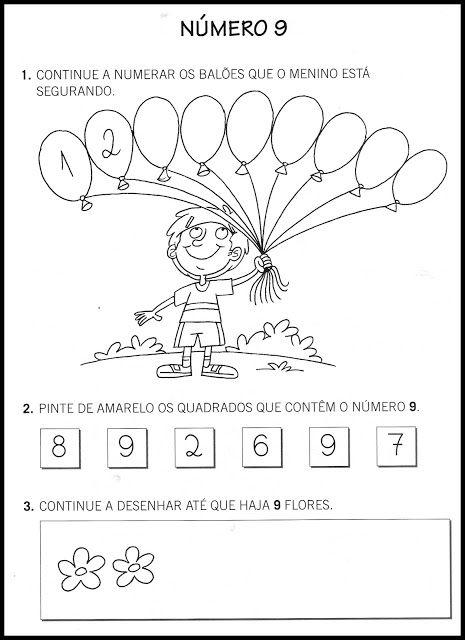 Atividades com números - 0 a 9 - SÓ ESCOLA