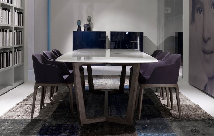 Contemporary wood and marble dining table - CONCORDE by Emmanuel Gallina - Poliform