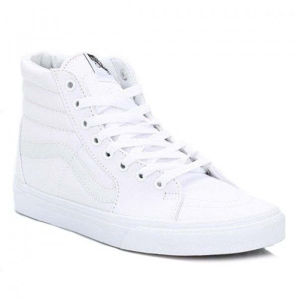 White SK 8 Hi Canvas Trainers ($71) ❤ liked on Polyvore featuring shoes, sneakers, vans high tops, high top skate shoes, skate trainers, skate sneakers and canvas sneakers