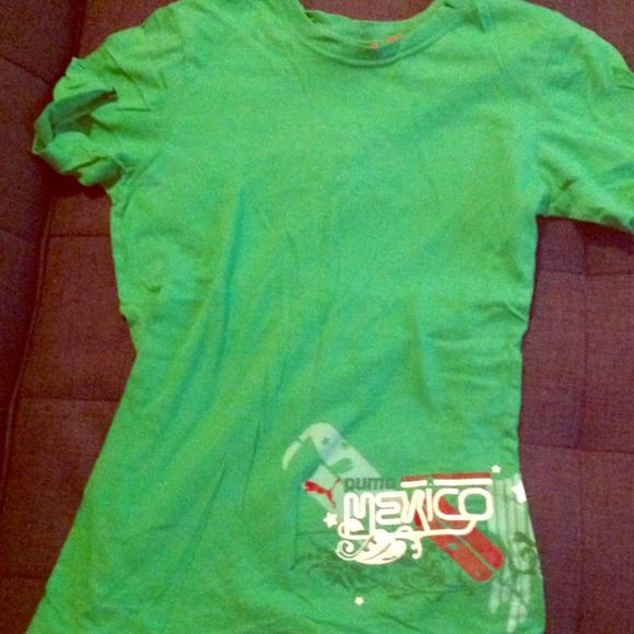 ✂✂REDUCED✂✂ Green Puma Mexico tee shirt Never worn green puma Mexico t shirt. Green cotton with puma Mexico appliqué in velvet along bottom. Short sleeve crew neck in size small Puma Tops Tees - Short Sleeve