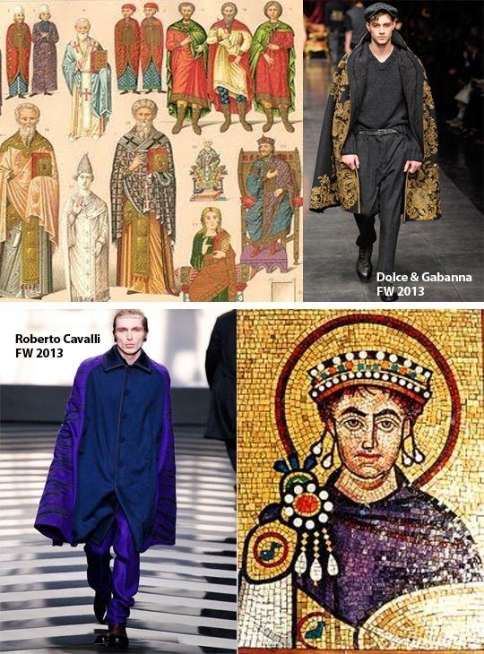 La moda bizantina tiene una idea de brillar y hacerse notar , la moda de hoy , no tiene tantos accesorios , pero hacen muy buenas representaciones de la época.