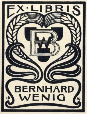 Bookplate by Bernhard Wenig (1871-1936) for himself, 1897