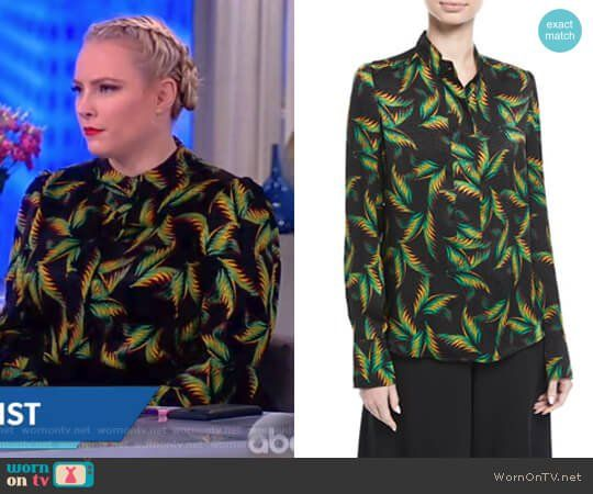 Meghan s black palm leaf print top on The View. Outfit Details  https   4fedbf318
