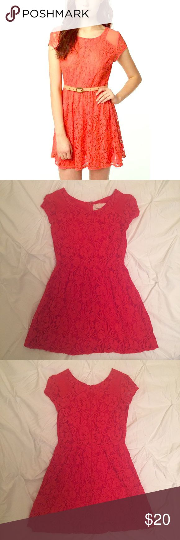 UO Coral Lace Dress 👗 Coincidence + Chance Revel Dress from Urban Outfitters. Bright orangey-red coral lace dress with cap sleeve and flattering a-line shape. Gently worn, perfect condition! Urban Outfitters Dresses Mini