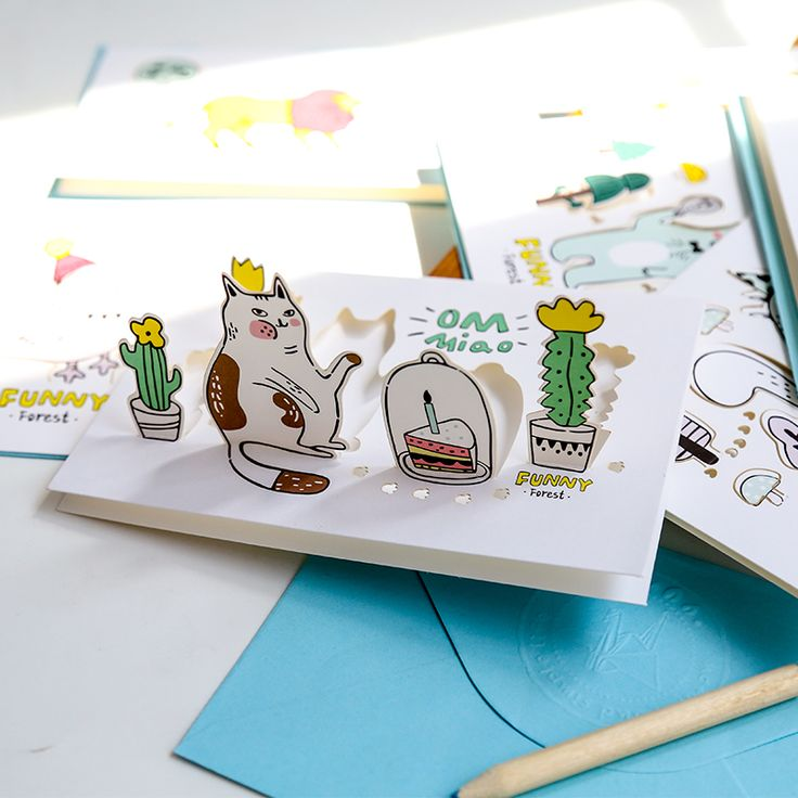 Creative Forest Animals Cartoon 3D Greeting Card Postcard Birthday Gift Card Set Message Card