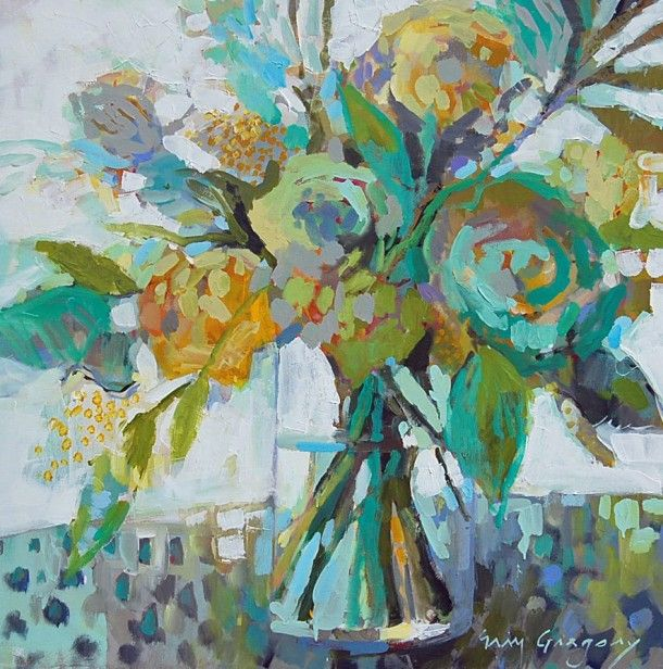 "Fall Event at Gregg Irby Fine Art Gallery  ""Bloom 3″ by Erin Gregory, 36″ by 36″ on gallery wrap canvas, $1400"