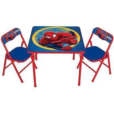 Activity Table Chairs Set Spiderman Children Furniture Kids Folding Boys Toddler