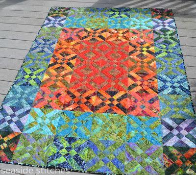 Seaside Stitches: Blogger's Quilt Festival- Throw Quilts - Batik Arrowheads