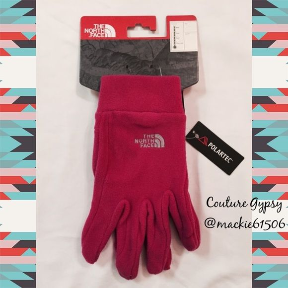 BF 1DAY SALENWT Women's North Face HP Glove XL New with tags, women's north face hot pink fleece gloves, size XLarge.  So warm and cozy!!! North Face Accessories Gloves & Mittens