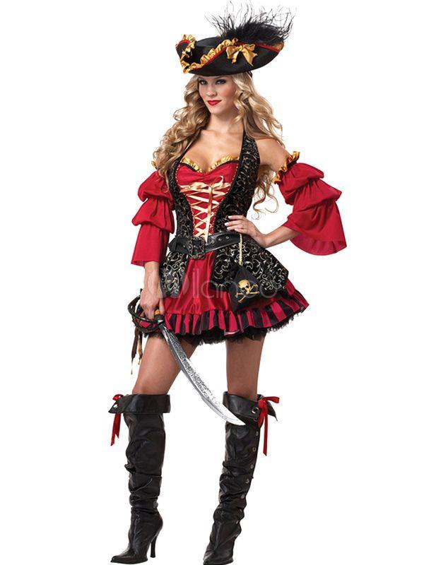 Costume de pirate rouge en polyester pour femme