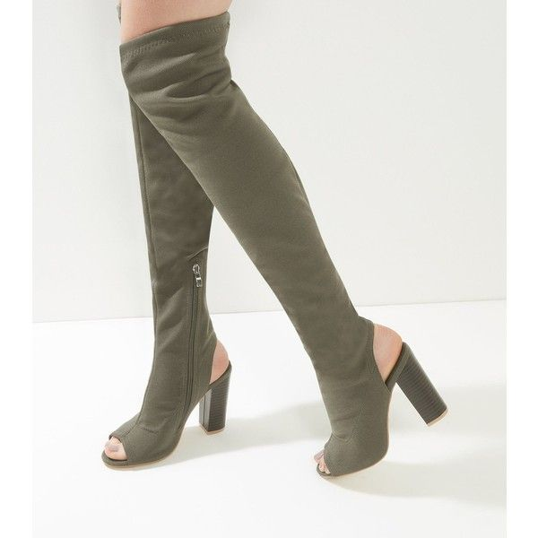 New Look Khaki Peep Toe Over The Knee Block Heel Boots (£22) ❤ liked on Polyvore featuring shoes, boots, khaki, zipper boots, over-the-knee high-heel boots, over the knee boots, above knee boots and new look boots