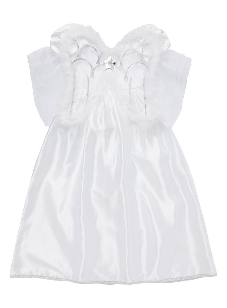 Your little princess will love playing dress up with this beautiful angel costume. In ivory white with a shimmery finish, this costume sports ruffled trims and sparkly details, and comes complete with a halo for a fabulous finishing touch.  Girls angel dress up costume 2 pieces Includes halo Keep away from fire