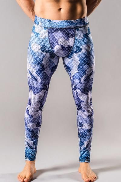 Blue Camo Mens Tights | Zayze