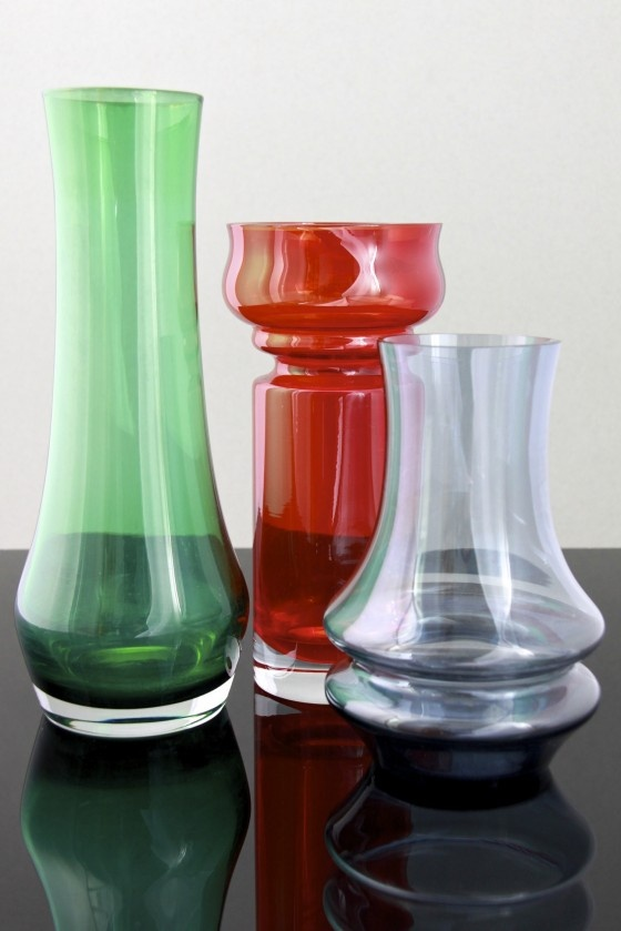 Coloured glass vases, designed by Tamara Aladin for Riihimaki Glassworks, Finland circa early 1970′s