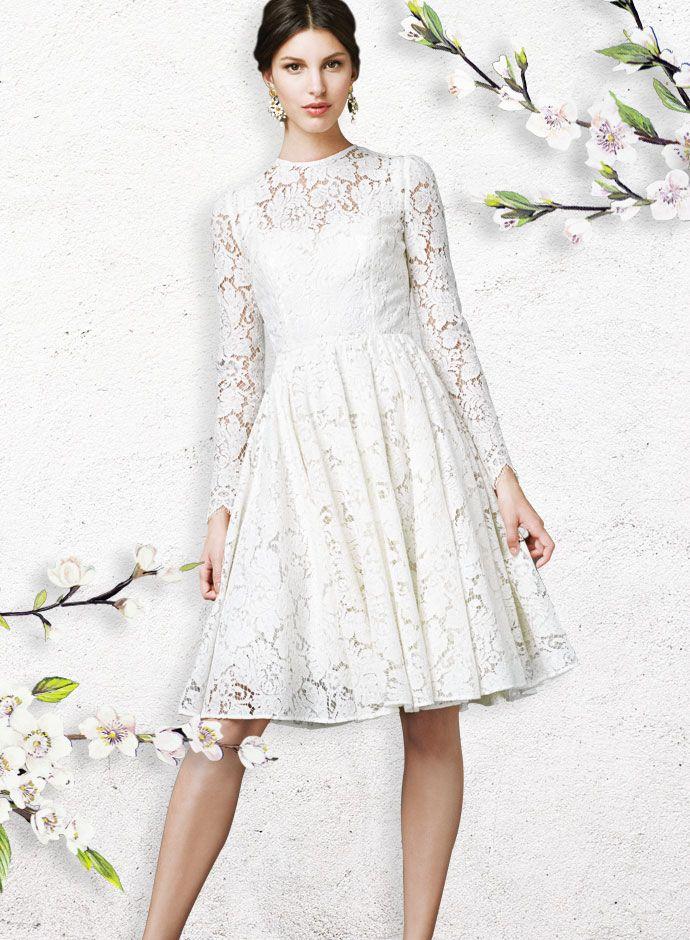 Dolce&Gabbana Spring Summer for White Day 2014: White Lace Full Skirt Dress
