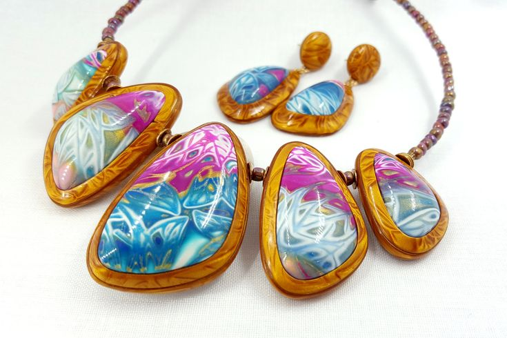 """Summer Jewellery set from Polymer Clay: Necklace and Earrings - """"Summer Flowers"""" in Gold, Blue and Pink colours - READY TO SHIP by SweetyBijou on Etsy"""