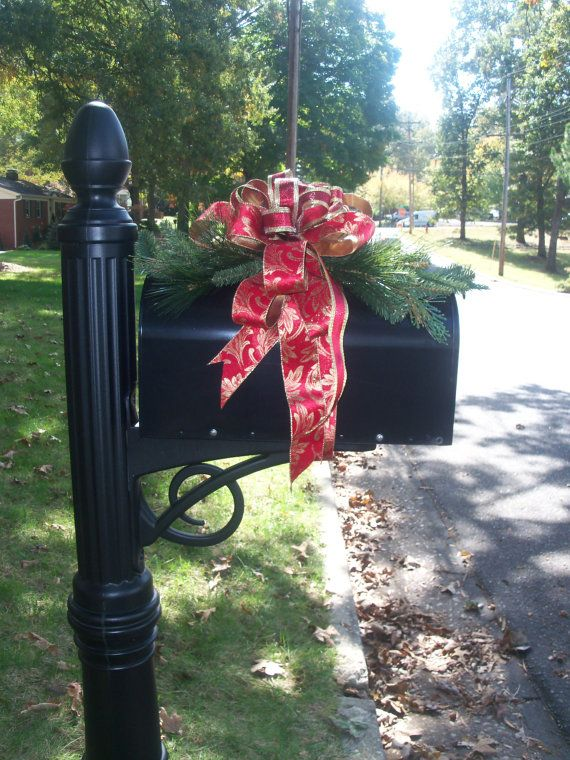 red and gold christmas mailbox topper mailbox topper mailbox decor mailbox bows wreath bows christmas love pinterest christmas gold christmas