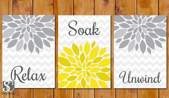 Floral Flower Burst Gray Yellow Set of 3 Wall Decor Spa Bathroom Relax Soak Unwind 5x7 DIY Printable Instant Download (97)