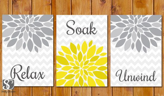 Floral Flower Burst Gray Yellow Set of 3 Wall Decor Spa Bathroom Relax Soak Unwind 5x7 DIY Printable Instant Download (97)
