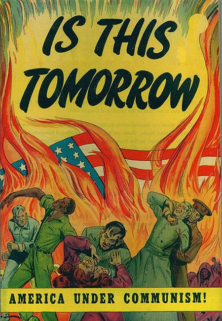 America under communism, posters de la guerra fría. Catechetical Guild Educational Society of St. Paul, Minnesota,1947