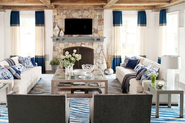 Cottage living space.  color blocked window panels + wood + blues