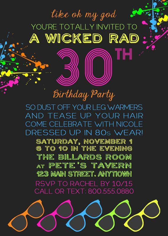 Printable 80s Theme Invitation by KickAssCraftsShop on Etsy
