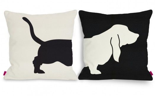 Unusual pillow with a friendly dog imprint, maintained in the convention black & white. Perfect for Moms who are dog lovers!