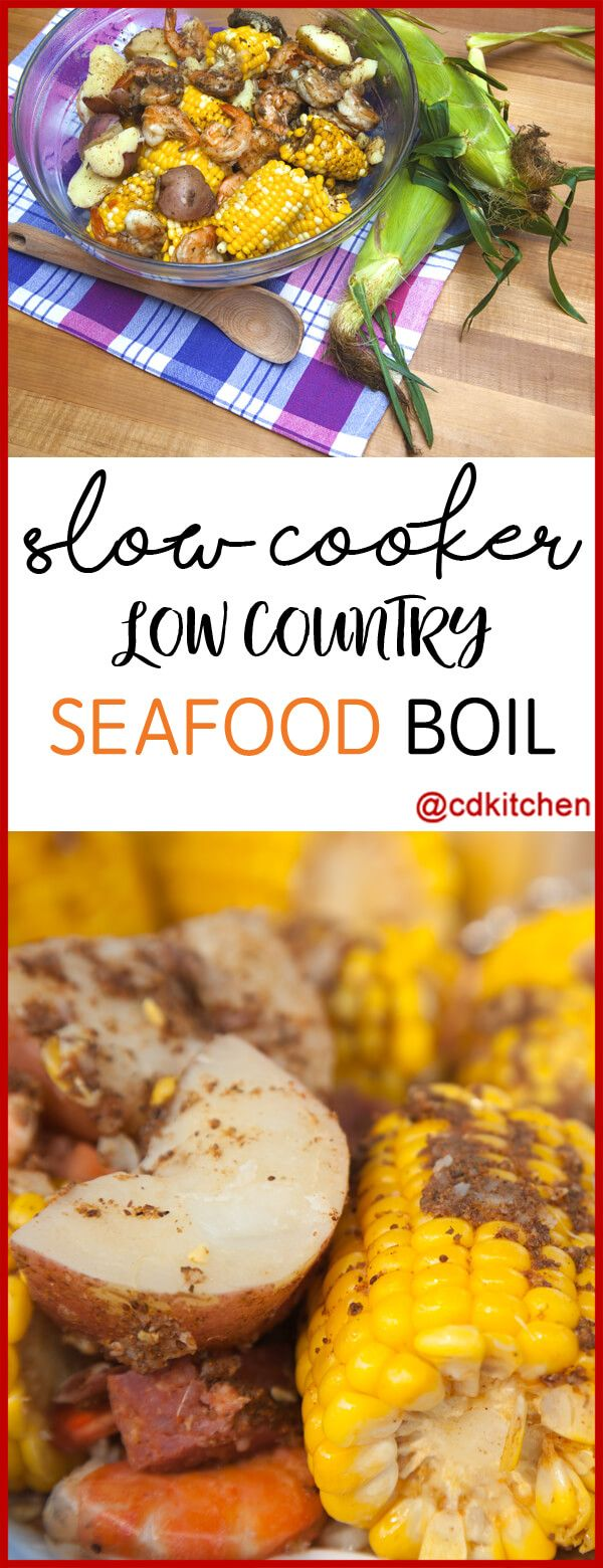 A flavorful slow cooker version of a seafood boil with shrimp, smoked sausage, potatoes, and corn.  | CDKitchen.com