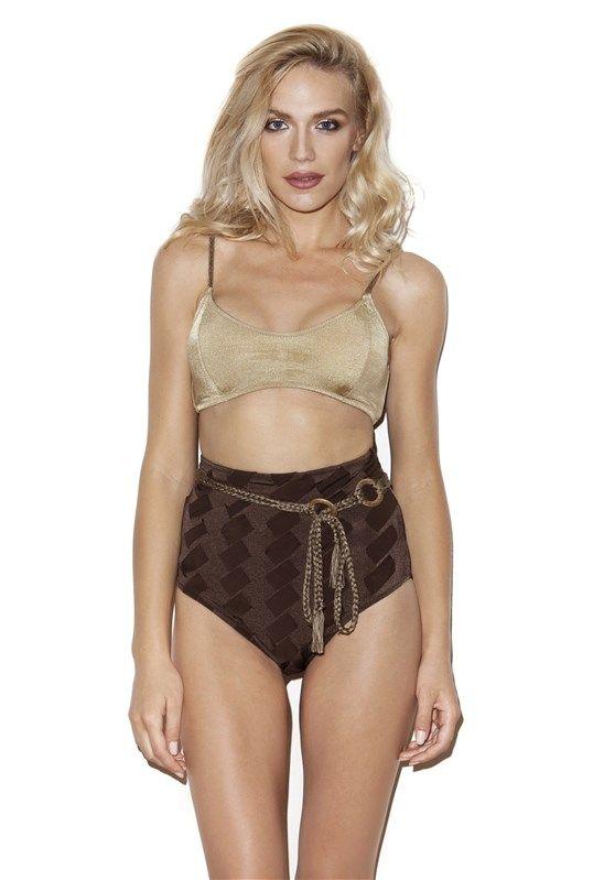$150- Gold sport bra with rope straps and brown wicker look high waisted bottom. Comes with the belt. #5pmswimwear #luxuryswimwear #bikini #gold #brown #swimwear #summer #textured