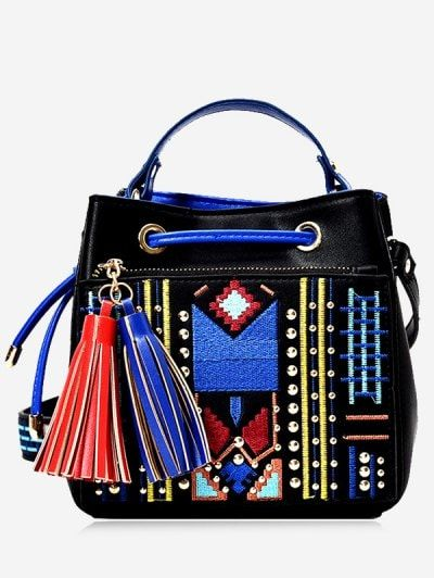 SHARE & Get it FREE | Tassesls Embroidery Rivets Tote Bag - BlackFor Fashion Lovers only:80,000+ Items • New Arrivals Daily Join Zaful: Get YOUR $50 NOW!