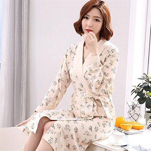 Women Elegant Cotton Bathrobe Long Sleeves Flowers Pattern Nightgown  Pajamas Cardigan Bathrobe Towelling (Color   18bbe7804