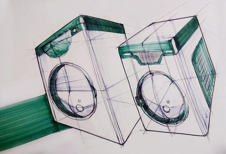 sketch / industrial sketch/ washing machine / green / white / Hripsime Melikyan