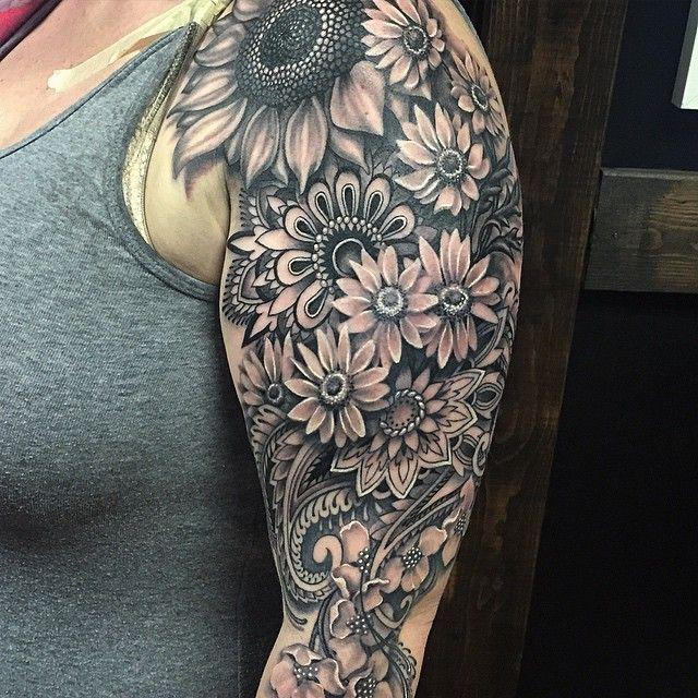 Graphic Flowers Feild Tattoo on Shoulder
