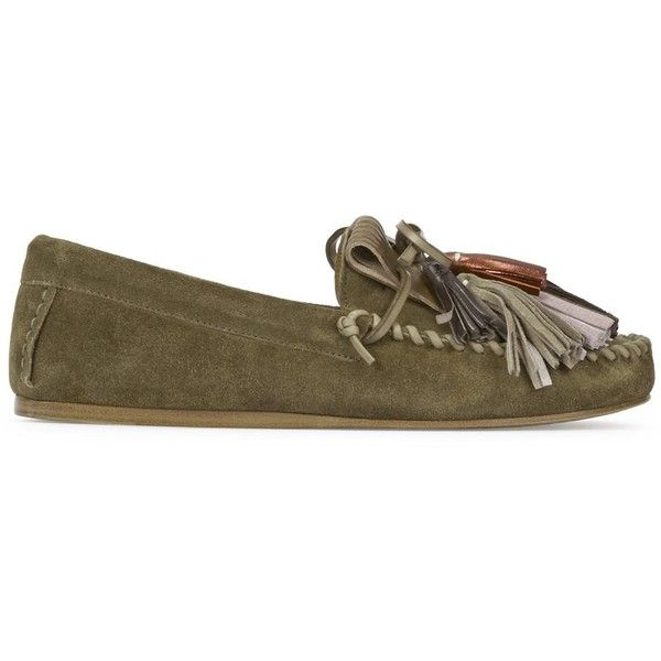 Isabel Marant Étoile Maple Dark Olive Suede Moccasins (1.849.180 IDR) ❤ liked on Polyvore featuring shoes, loafers, slip on moccasins, moccasin shoes, mocasin shoes, mocassin shoes and slip on shoes