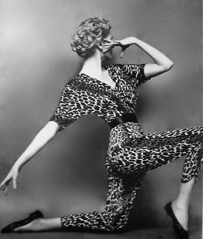 Photograph by Mark Shaw 1954 leopard jumpsuit catsuit animal print 50s cigarette pants dolman sleeves model magazine photo print ad