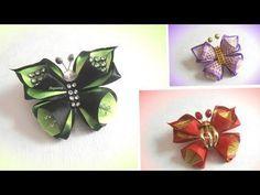 Бабочка канзаши из лент своими руками, мастер класс - YouTube